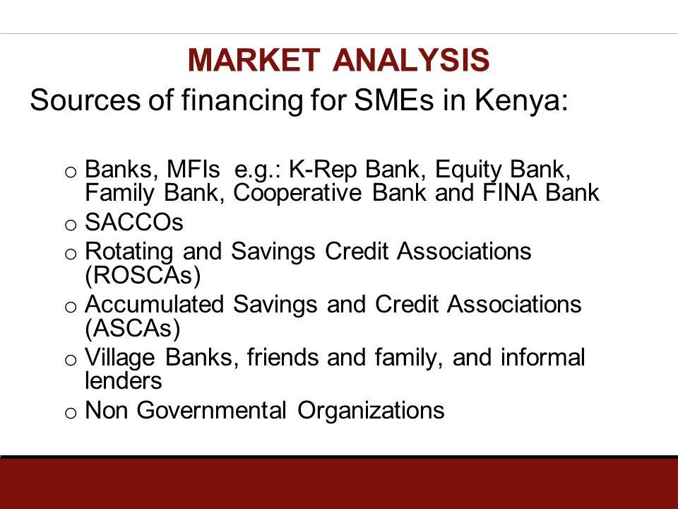 Sources of financing for SMEs in Kenya: o Banks, MFIs e.g.: K-Rep Bank, Equity Bank, Family Bank, Cooperative Bank and FINA Bank o SACCOs o Rotating a