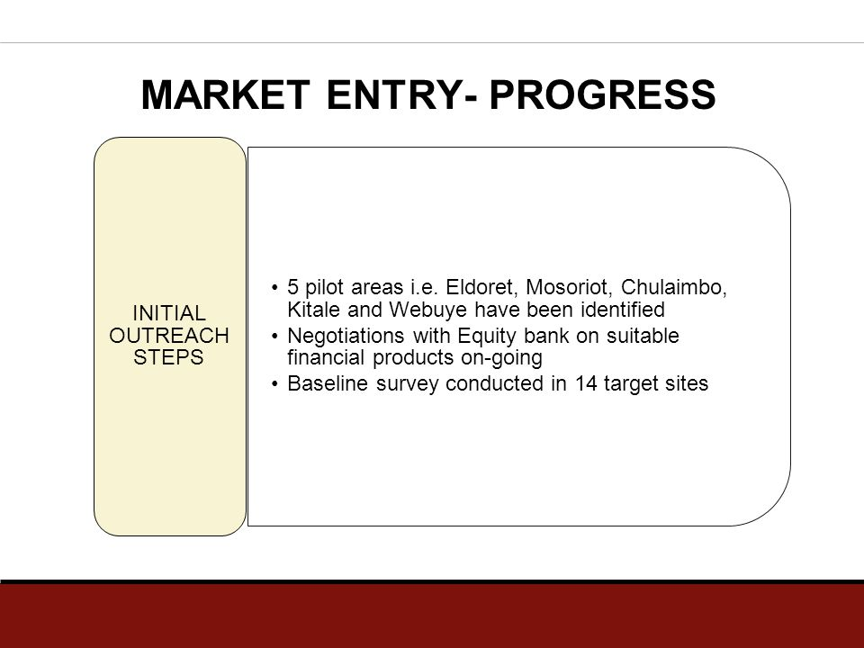 MARKET ENTRY- PROGRESS 5 pilot areas i.e. Eldoret, Mosoriot, Chulaimbo, Kitale and Webuye have been identified Negotiations with Equity bank on suitab