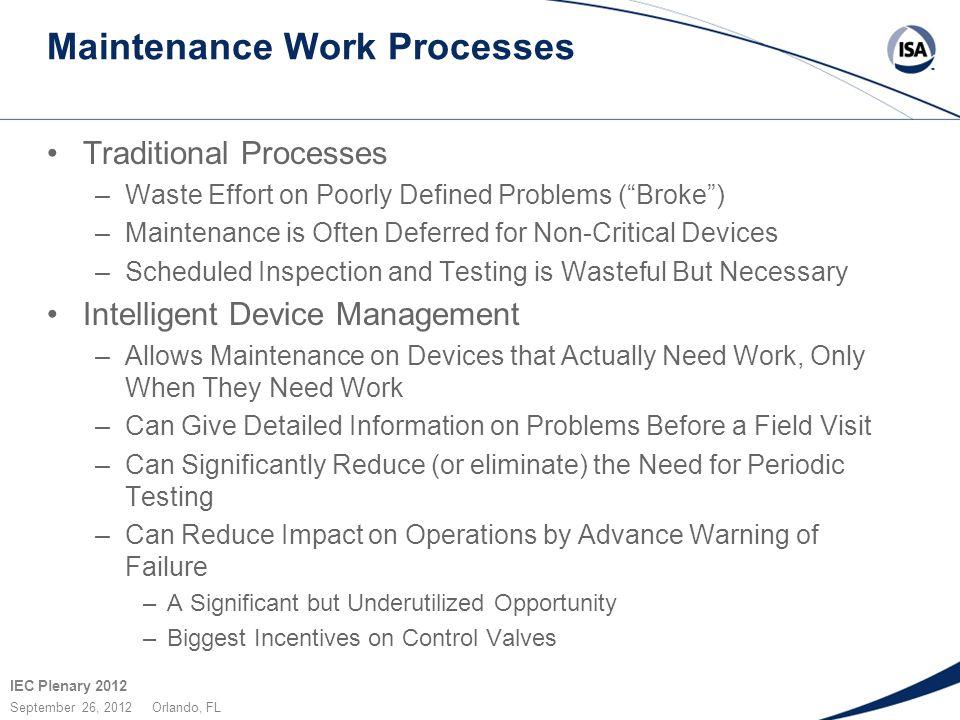 "IEC Plenary 2012 September 26, 2012 Orlando, FL Maintenance Work Processes Traditional Processes –Waste Effort on Poorly Defined Problems (""Broke"") –M"