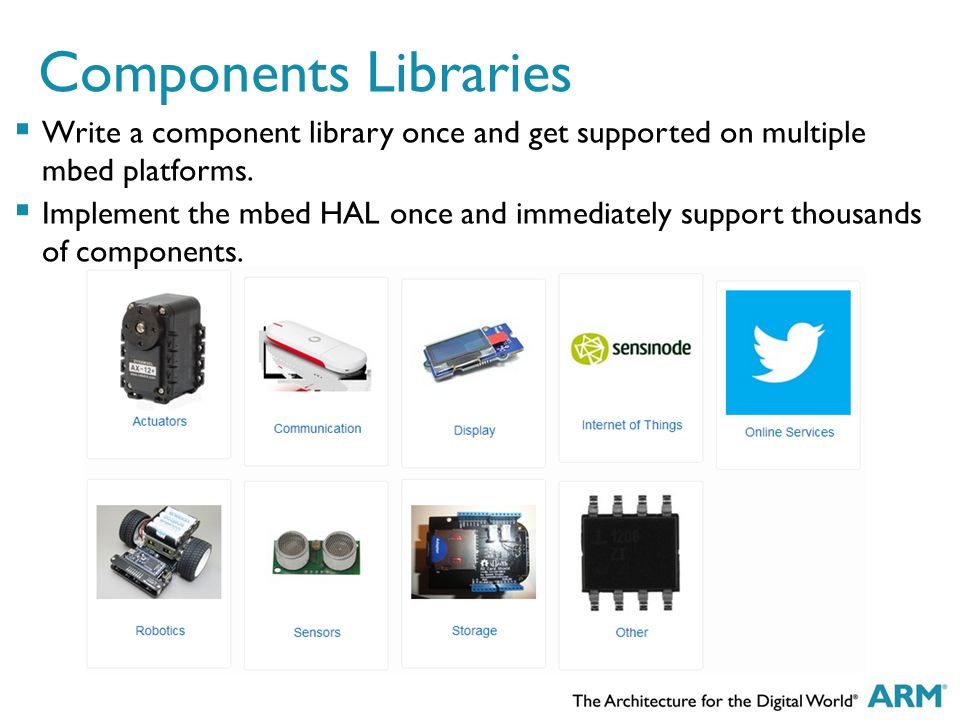 Components Libraries  Write a component library once and get supported on multiple mbed platforms.  Implement the mbed HAL once and immediately supp