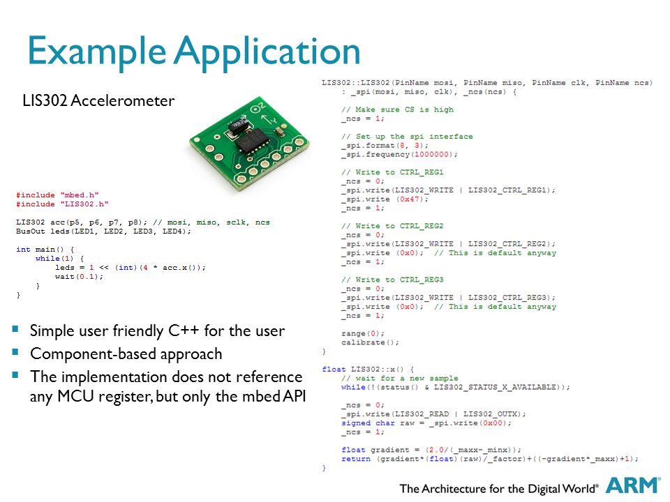 Example Application LIS302 Accelerometer  Simple user friendly C++ for the user  Component-based approach  The implementation does not reference an