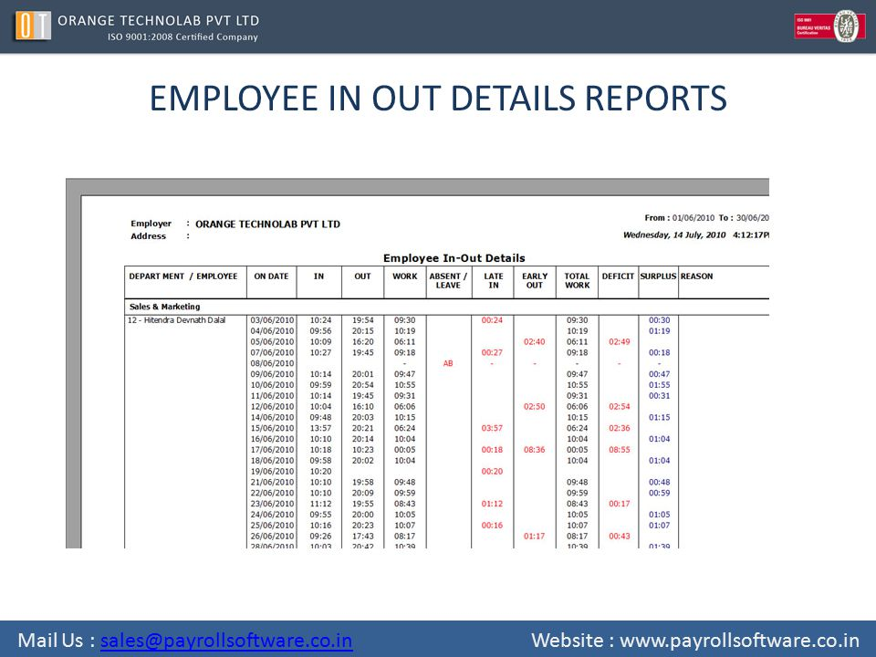EMPLOYEE IN OUT DETAILS REPORTS Mail Us : sales@payrollsoftware.co.in Website : www.payrollsoftware.co.insales@payrollsoftware.co.in