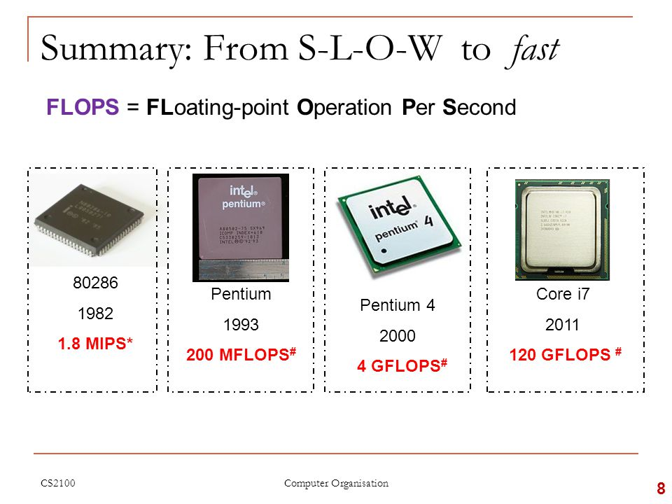 Summary: From S-L-O-W to fast FLOPS = FLoating-point Operation Per Second 80286 1982 1.8 MIPS* Pentium 1993 200 MFLOPS # Pentium 4 2000 4 GFLOPS # Core i7 2011 120 GFLOPS # CS2100 8 Computer Organisation