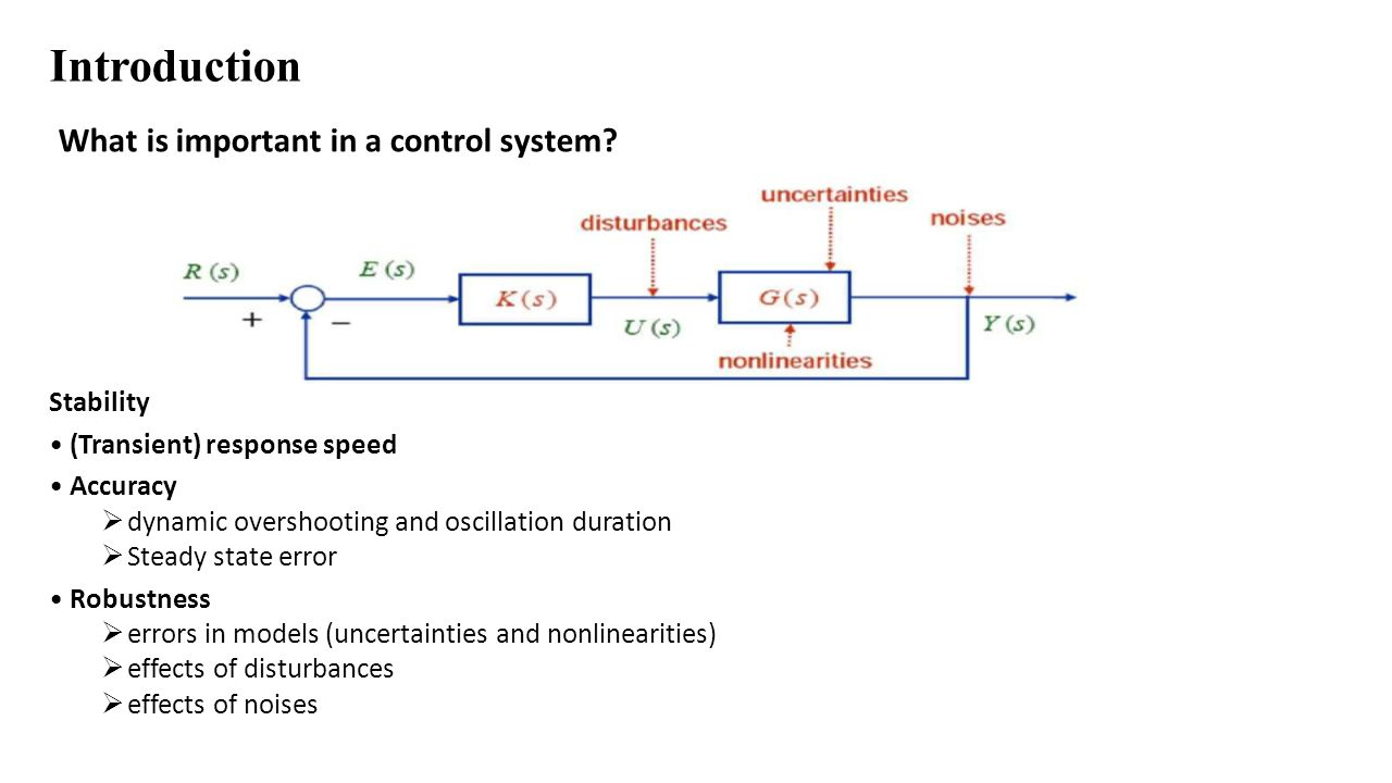 Introduction What is important in a control system? Stability (Transient) response speed Accuracy  dynamic overshooting and oscillation duration  St