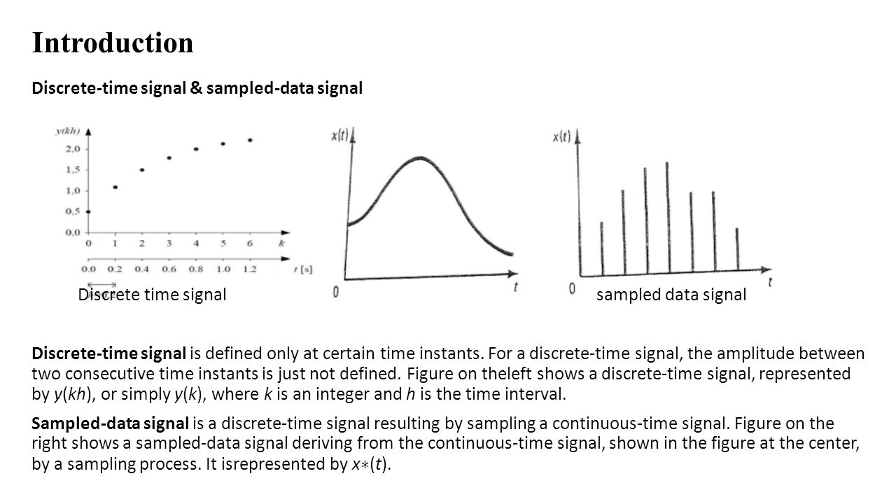 Introduction Discrete-time signal & sampled-data signal Discrete time signal sampled data signal Discrete-time signal is defined only at certain time