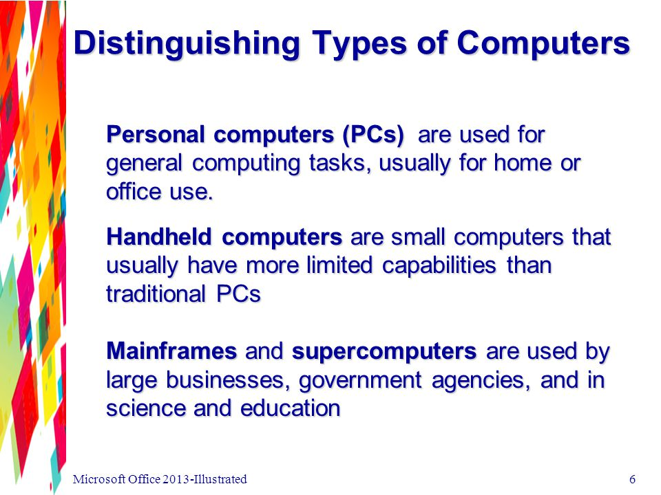 Describe Data Communications PCs have several types of expansion ports: ParallelParallel SerialSerial USBUSB MIDIMIDI EthernetEthernet ThunderboltThunderbolt HDMIHDMI DVIDVI VGAVGA 27 Microsoft Office 2013-Illustrated