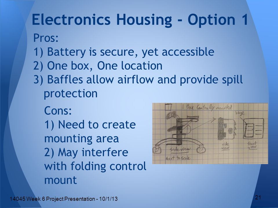 Electronics Housing - Option 1 Pros: 1) Battery is secure, yet accessible 2) One box, One location 3) Baffles allow airflow and provide spill protection Cons: 1) Need to create mounting area 2) May interfere with folding control mount 21 14045 Week 6 Project Presentation - 10/1/13