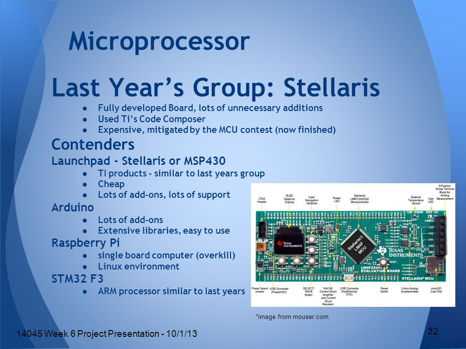 Last Year's Group: Stellaris ●Fully developed Board, lots of unnecessary additions ●Used Ti's Code Composer ●Expensive, mitigated by the MCU contest (now finished) Contenders Launchpad - Stellaris or MSP430 ●TI products - similar to last years group ●Cheap ●Lots of add-ons, lots of support Arduino ●Lots of add-ons ●Extensive libraries, easy to use Raspberry Pi ●single board computer (overkill) ●Linux environment STM32 F3 ●ARM processor similar to last years Microprocessor *image from mouser.com 32 14045 Week 6 Project Presentation - 10/1/13