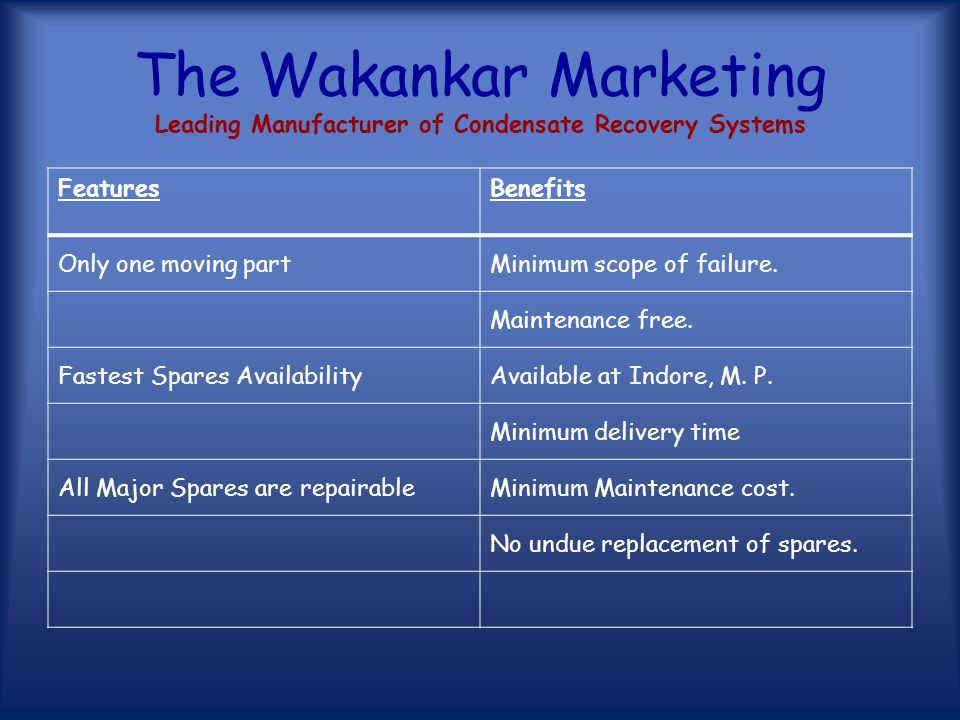 The Wakankar Marketing Leading Manufacturer of Condensate Recovery Systems FeaturesBenefits One to One Approach Full responsibility of the person who handle the client from basic study to final execution of project.