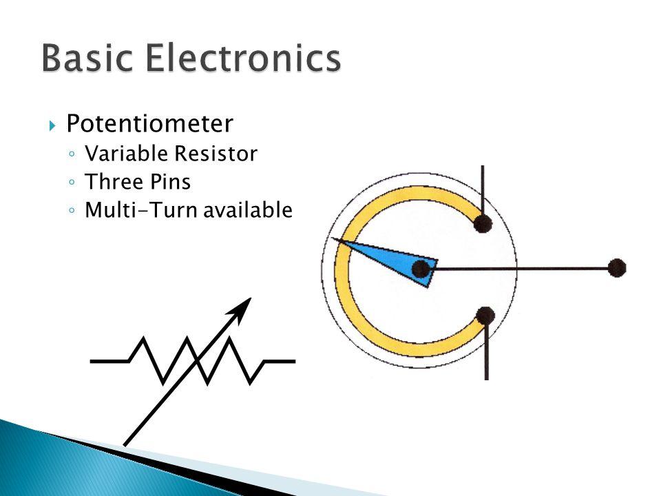  Potentiometer ◦ Variable Resistor ◦ Three Pins ◦ Multi-Turn available