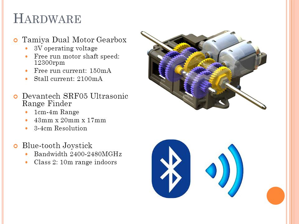 H ARDWARE Tamiya Dual Motor Gearbox 3V operating voltage Free run motor shaft speed: 12300rpm Free run current: 150mA Stall current: 2100mA Devantech SRF05 Ultrasonic Range Finder 1cm-4m Range 43mm x 20mm x 17mm 3-4cm Resolution Blue-tooth Joystick Bandwidth 2400-2480MGHz Class 2: 10m range indoors