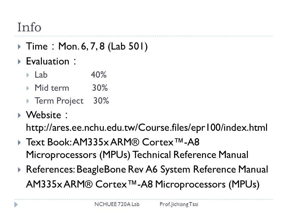 Info NCHUEE 720A Lab Prof. Jichiang Tsai  Time : Mon.