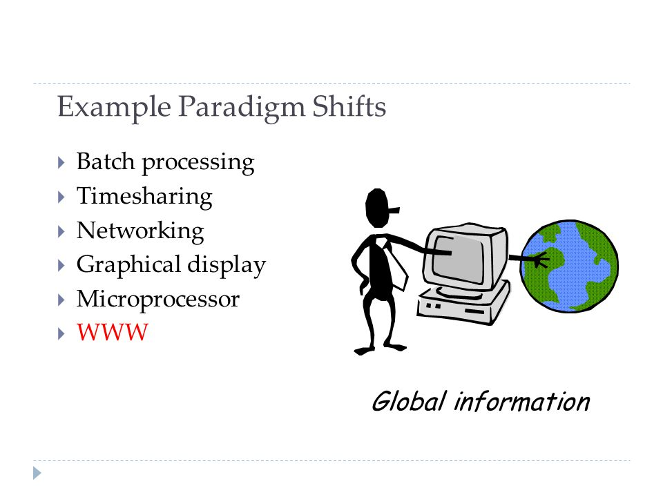 Example Paradigm Shifts  Batch processing  Timesharing  Networking  Graphical display  Microprocessor  WWW Global information