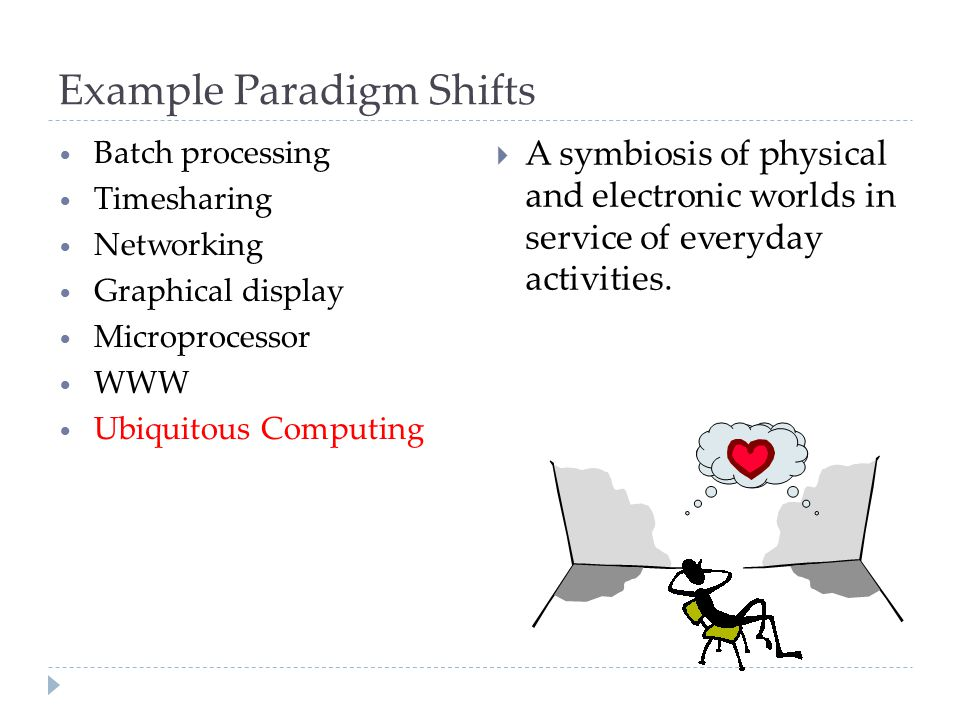 Example Paradigm Shifts Batch processing Timesharing Networking Graphical display Microprocessor WWW Ubiquitous Computing  A symbiosis of physical an