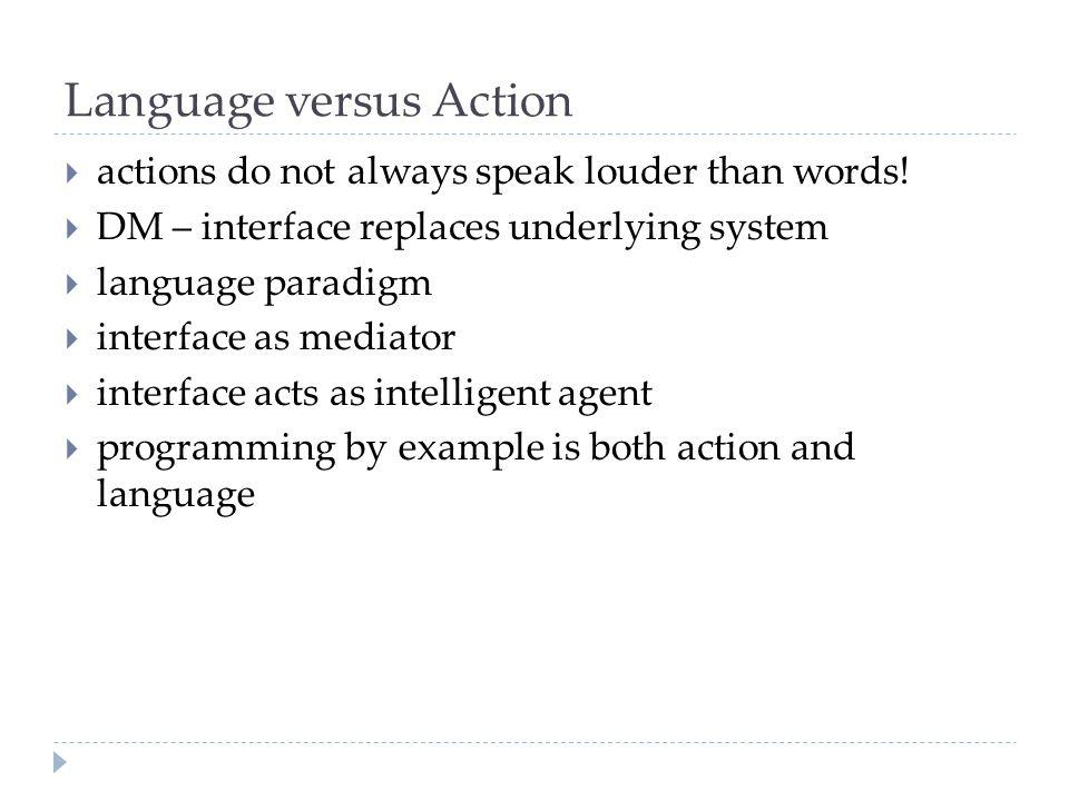 Language versus Action  actions do not always speak louder than words.