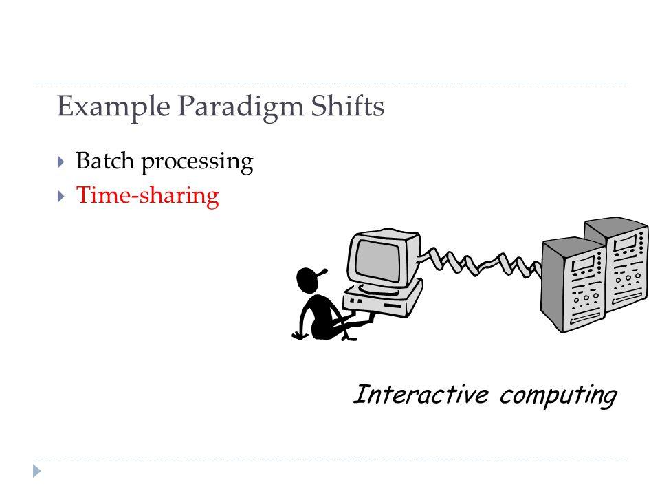 Example Paradigm Shifts  Batch processing  Time-sharing Interactive computing