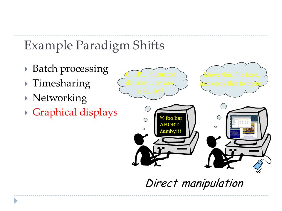 Example Paradigm Shifts  Batch processing  Timesharing  Networking  Graphical displays % foo.bar ABORT dumby!!.
