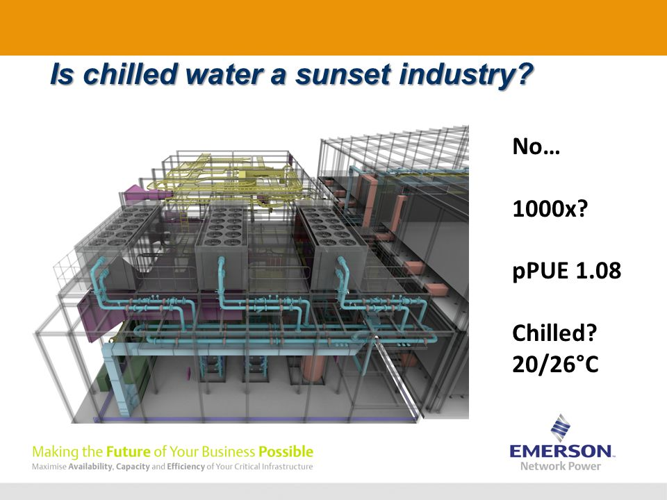 Is chilled water a sunset industry No… 1000x pPUE 1.08 Chilled 20/26°C