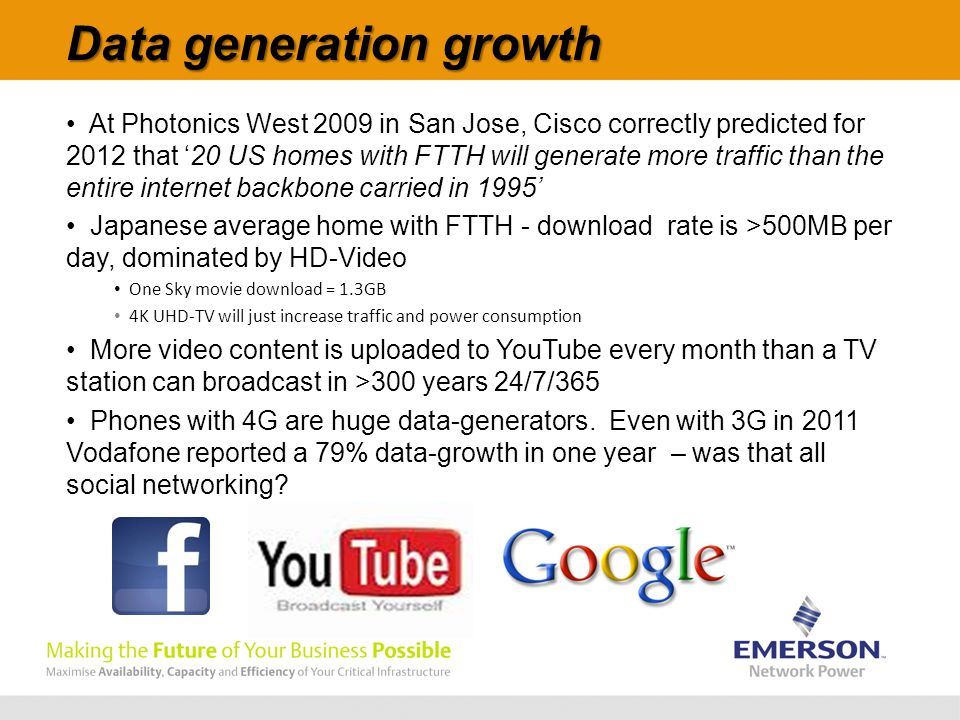 Data generation growth At Photonics West 2009 in San Jose, Cisco correctly predicted for 2012 that '20 US homes with FTTH will generate more traffic than the entire internet backbone carried in 1995' Japanese average home with FTTH - download rate is >500MB per day, dominated by HD-Video One Sky movie download = 1.3GB 4K UHD-TV will just increase traffic and power consumption More video content is uploaded to YouTube every month than a TV station can broadcast in >300 years 24/7/365 Phones with 4G are huge data-generators.