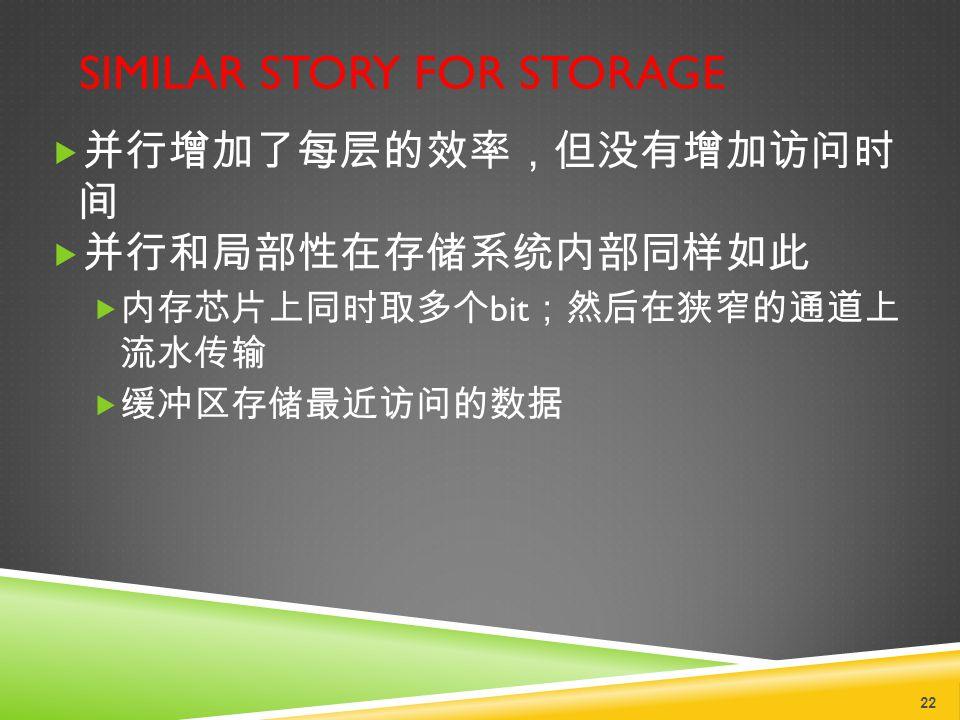 SIMILAR STORY FOR STORAGE  并行增加了每层的效率,但没有增加访问时 间  并行和局部性在存储系统内部同样如此  内存芯片上同时取多个 bit ;然后在狭窄的通道上 流水传输  缓冲区存储最近访问的数据 22