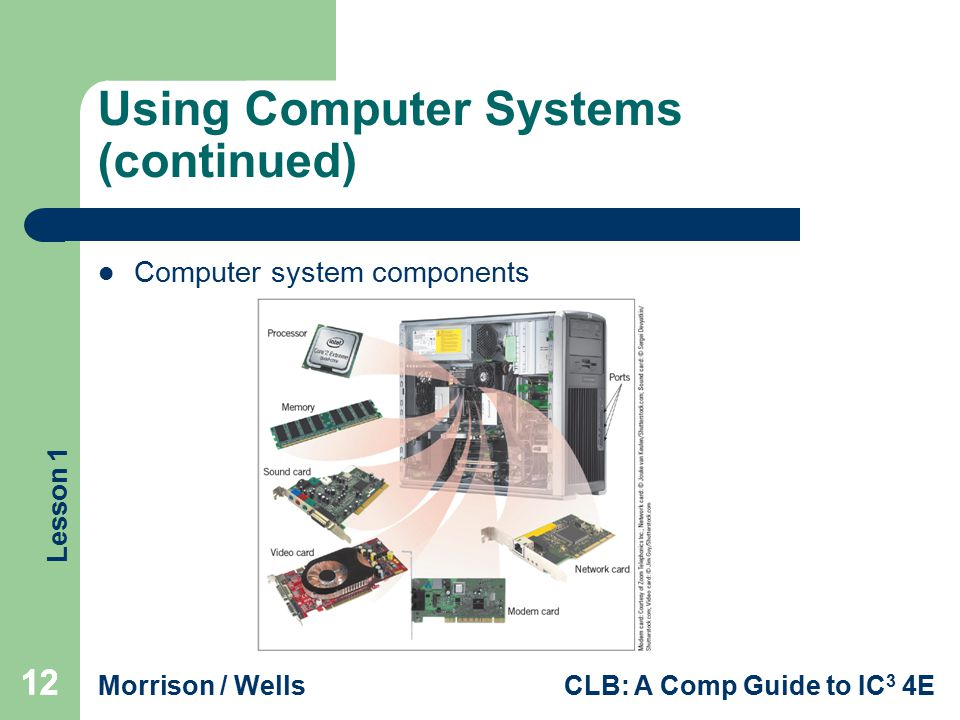 Lesson 1 Morrison / WellsCLB: A Comp Guide to IC 3 4E 12 Using Computer Systems (continued) Computer system components 12