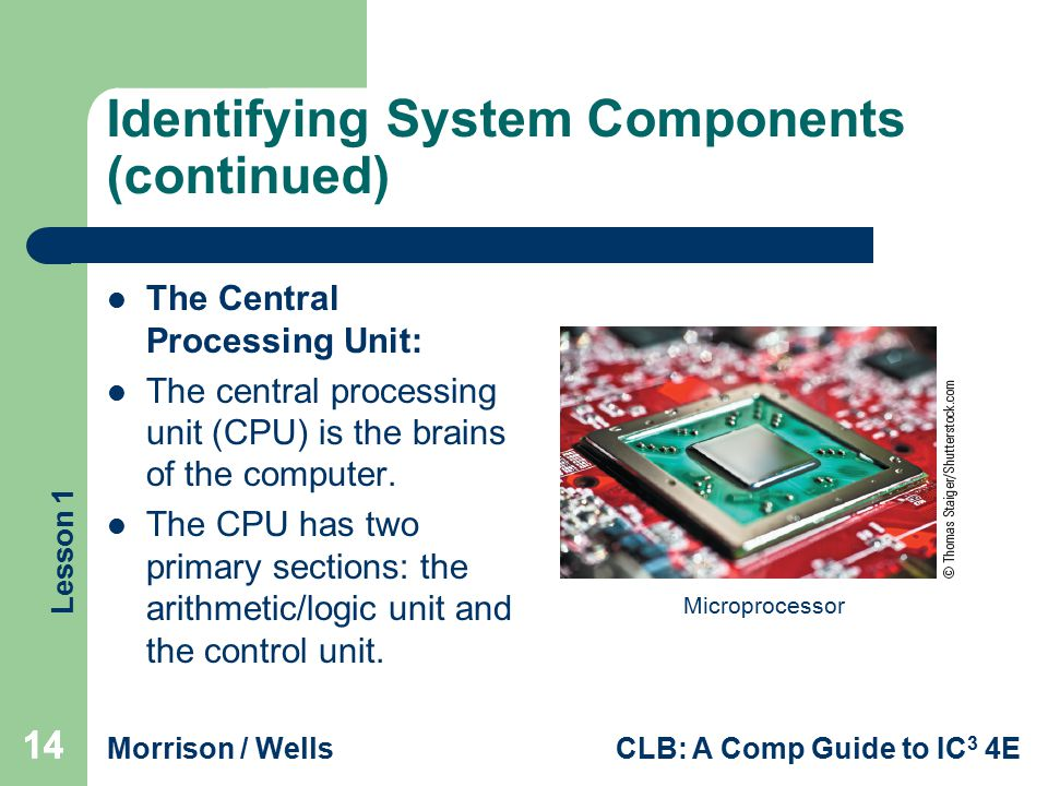 Lesson 1 Morrison / WellsCLB: A Comp Guide to IC 3 4E Identifying System Components (continued) The Central Processing Unit: The central processing un