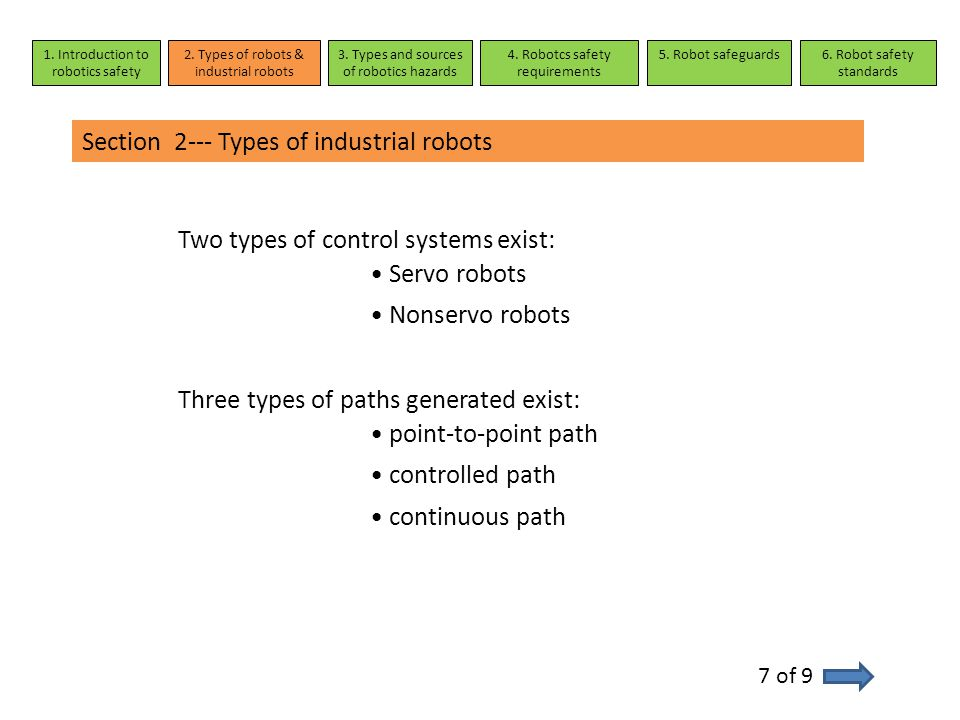 Section 2--- Types of industrial robots Two types of control systems exist: Servo robots Nonservo robots Three types of paths generated exist: point-t