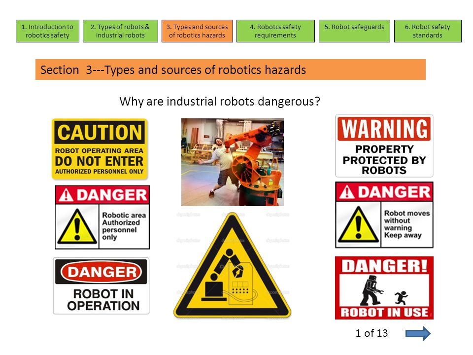 Section 3---Types and sources of robotics hazards Why are industrial robots dangerous? 1. Introduction to robotics safety 2. Types of robots & industr