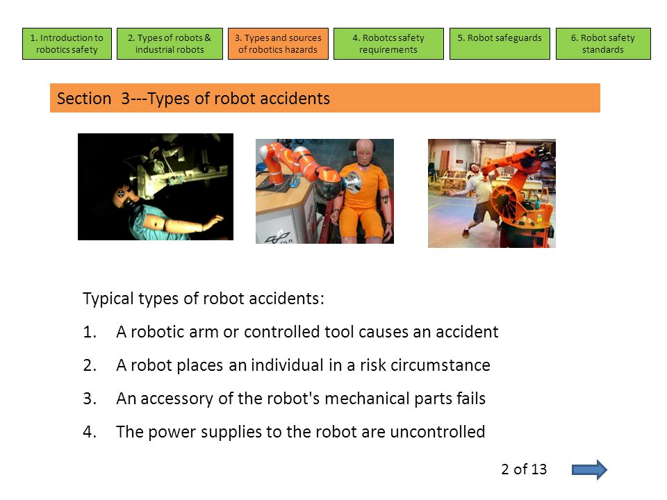 Section 3---Types of robot accidents 1. Introduction to robotics safety 2. Types of robots & industrial robots 3. Types and sources of robotics hazard