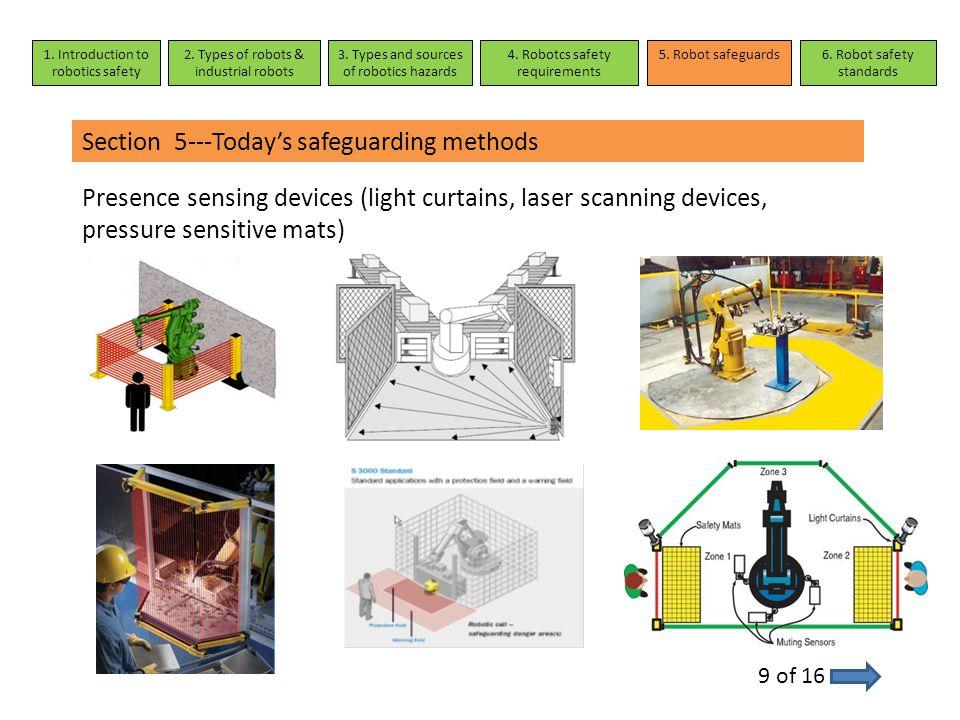 Section 5---Today's safeguarding methods Presence sensing devices (light curtains, laser scanning devices, pressure sensitive mats) 9 of 16 1. Introdu