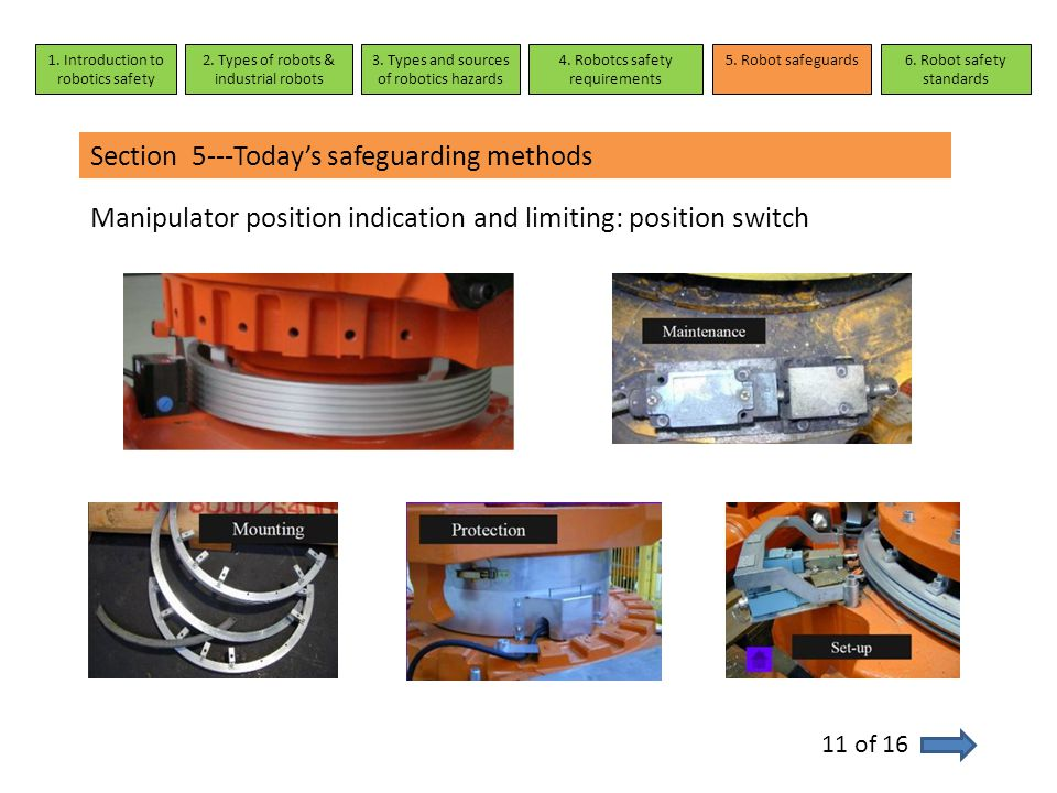 Section 5---Today's safeguarding methods Manipulator position indication and limiting: position switch 11 of 16 1. Introduction to robotics safety 2.