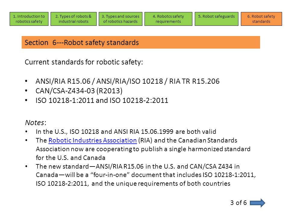 Section 6---Robot safety standards 3 of 6 Current standards for robotic safety: ANSI/RIA R15.06 / ANSI/RIA/ISO 10218 / RIA TR R15.206 CAN/CSA-Z434-03