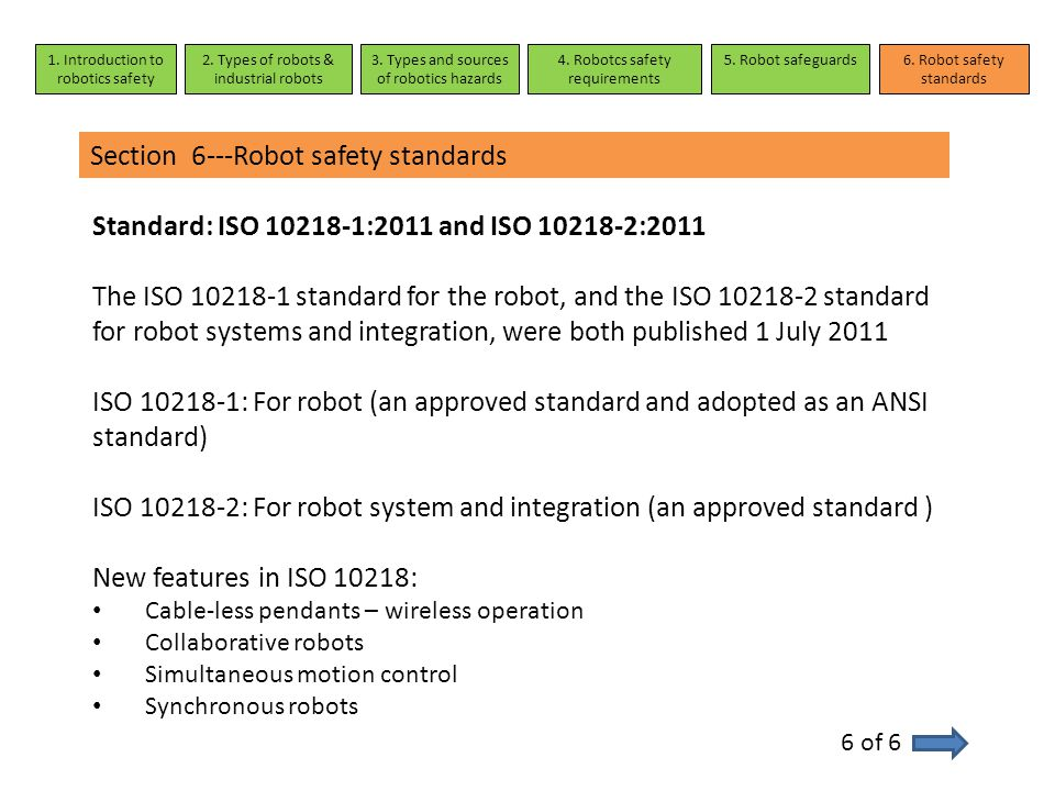 Section 6---Robot safety standards 6 of 6 1. Introduction to robotics safety 2. Types of robots & industrial robots 3. Types and sources of robotics h