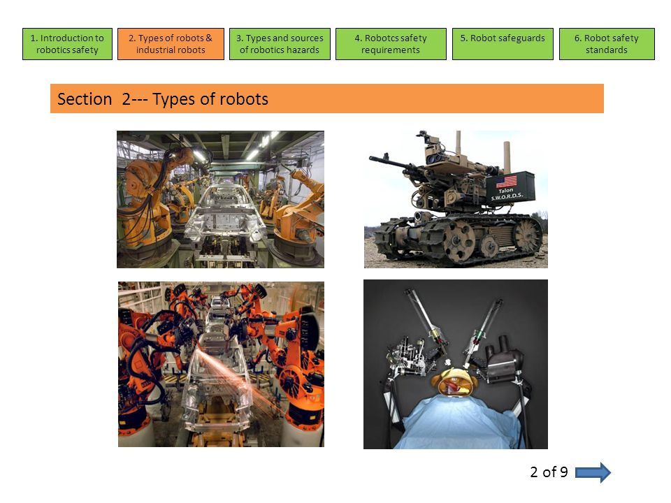 Section 4---Robotcs safety requirements 1 of 5 Requirements and safety measures in normal operation Demands and safety measures in special operation modes Demands on safety control systems 1.