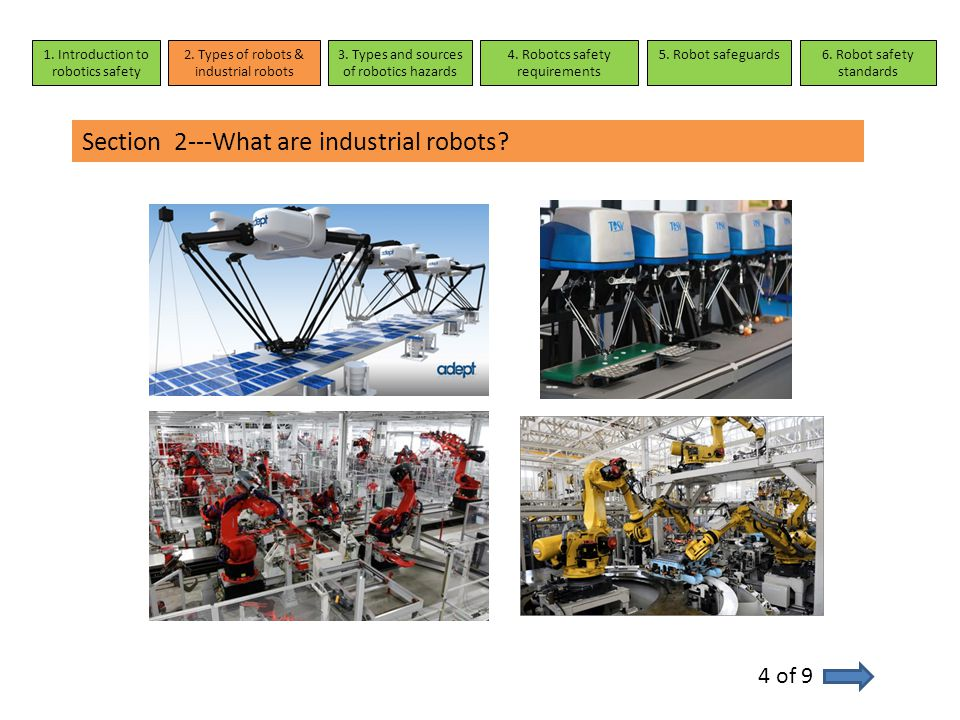 Section 2---What are industrial robots? 4 of 9 1. Introduction to robotics safety 2. Types of robots & industrial robots 3. Types and sources of robot