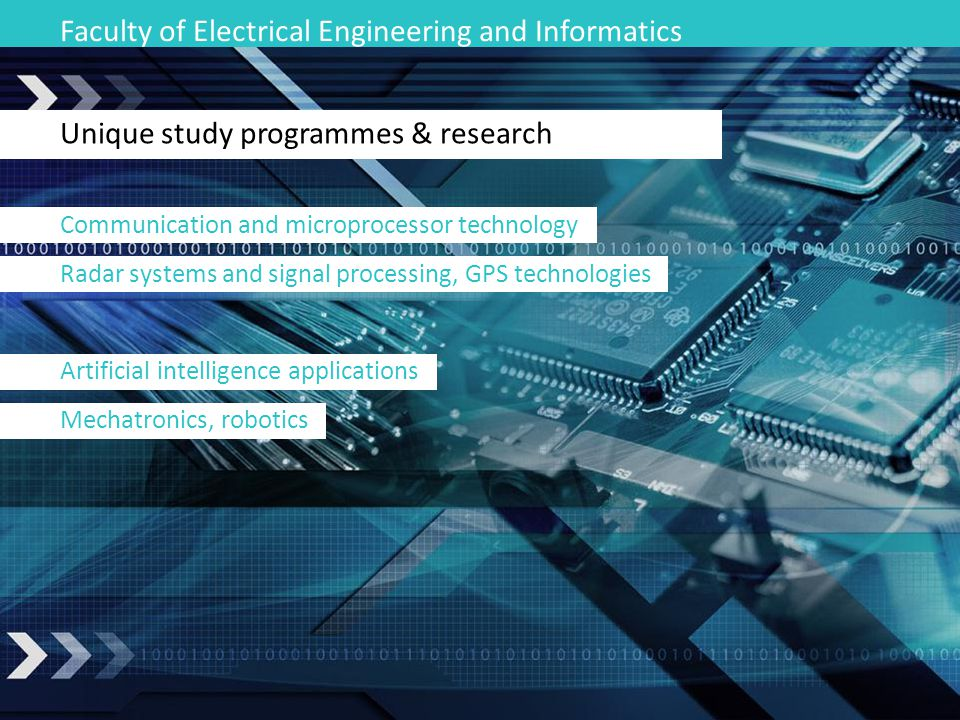 Faculty of Electrical Engineering and Informatics Unique study programmes & research Communication and microprocessor technology Radar systems and sig
