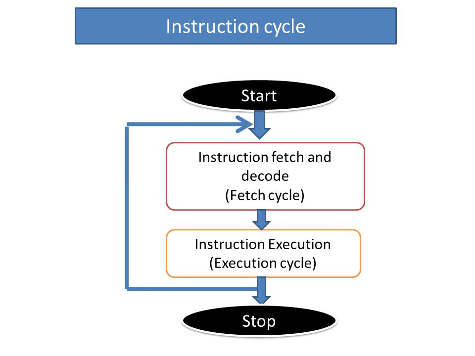 Instruction cycle Start Instruction fetch and decode (Fetch cycle) Instruction Execution (Execution cycle) Stop
