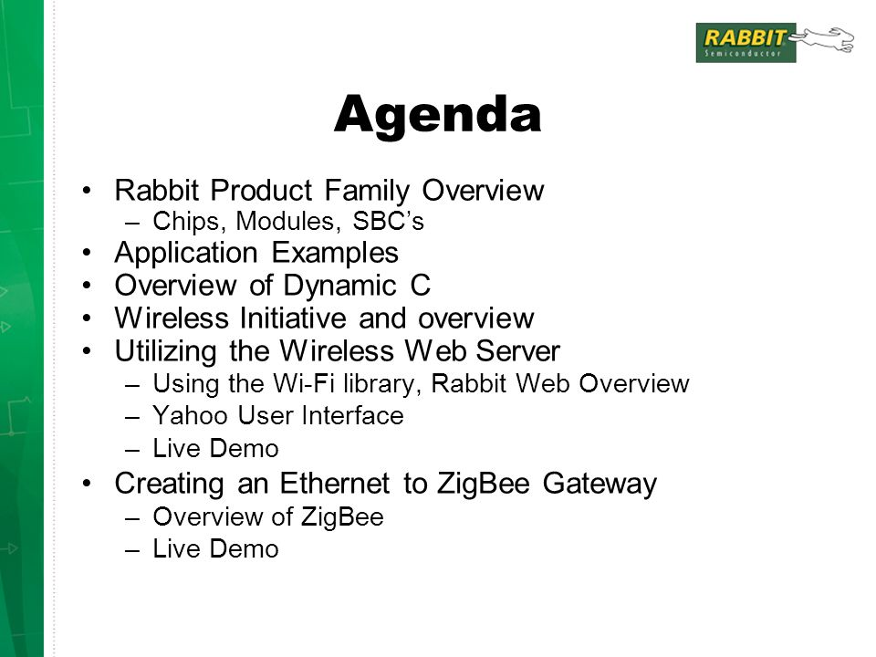 Agenda Rabbit Product Family Overview –Chips, Modules, SBC's Application Examples Overview of Dynamic C Wireless Initiative and overview Utilizing the