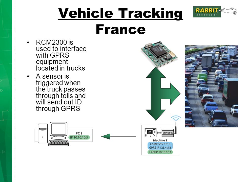 Vehicle Tracking France RCM2300 is used to interface with GPRS equipment located in trucks A sensor is triggered when the truck passes through tolls a