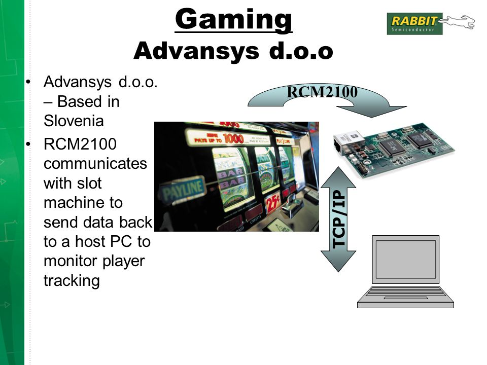 Gaming Advansys d.o.o Advansys d.o.o. – Based in Slovenia RCM2100 communicates with slot machine to send data back to a host PC to monitor player trac