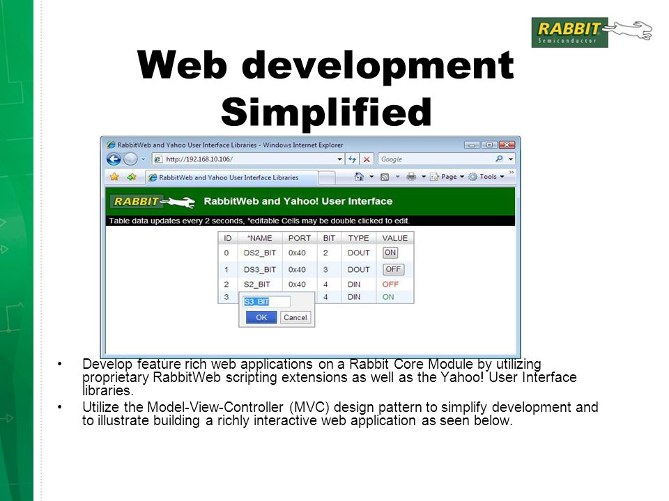 Web development Simplified Develop feature rich web applications on a Rabbit Core Module by utilizing proprietary RabbitWeb scripting extensions as we