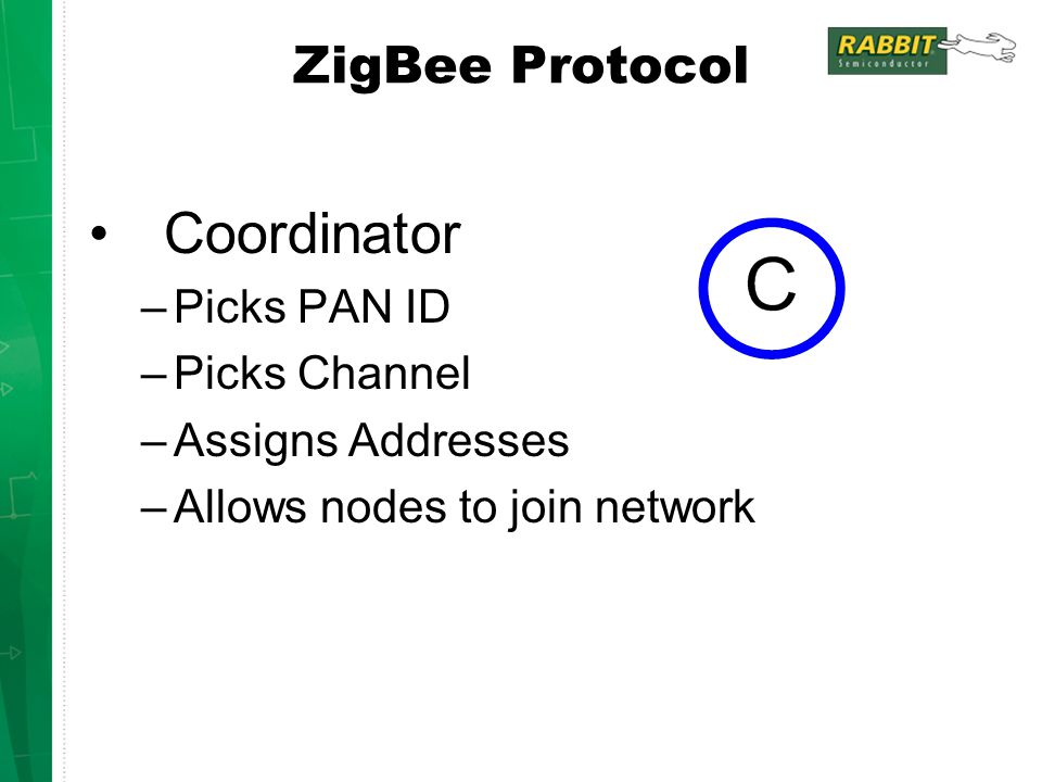 Coordinator –Picks PAN ID –Picks Channel –Assigns Addresses –Allows nodes to join network