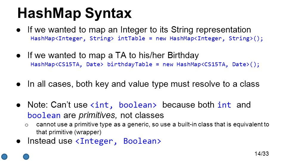 HashMap Syntax ●If we wanted to map an Integer to its String representation HashMap intTable = new HashMap (); ●If we wanted to map a TA to his/her Birthday HashMap birthdayTable = new HashMap (); ●In all cases, both key and value type must resolve to a class ●Note: Can't use because both int and boolean are primitives, not classes o cannot use a primitive type as a generic, so use a built-in class that is equivalent to that primitive (wrapper) ●Instead use 14/33