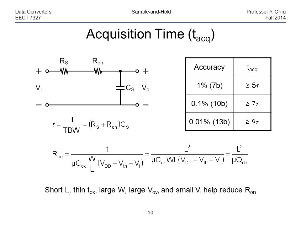 Acquisition Time (t acq ) – 10 – Data Converters Sample-and-HoldProfessor Y. Chiu EECT 7327Fall 2014 Short L, thin t ox, large W, large V ov, and smal