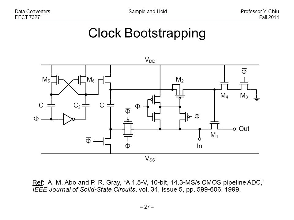 "Clock Bootstrapping – 27 – Data Converters Sample-and-HoldProfessor Y. Chiu EECT 7327Fall 2014 Ref: A. M. Abo and P. R. Gray, ""A 1.5-V, 10-bit, 14.3-M"