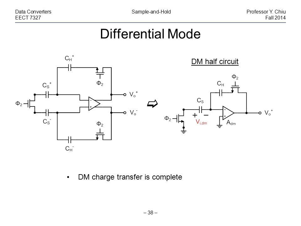 Differential Mode – 38 – Data Converters Sample-and-HoldProfessor Y. Chiu EECT 7327Fall 2014 DM charge transfer is complete DM half circuit 