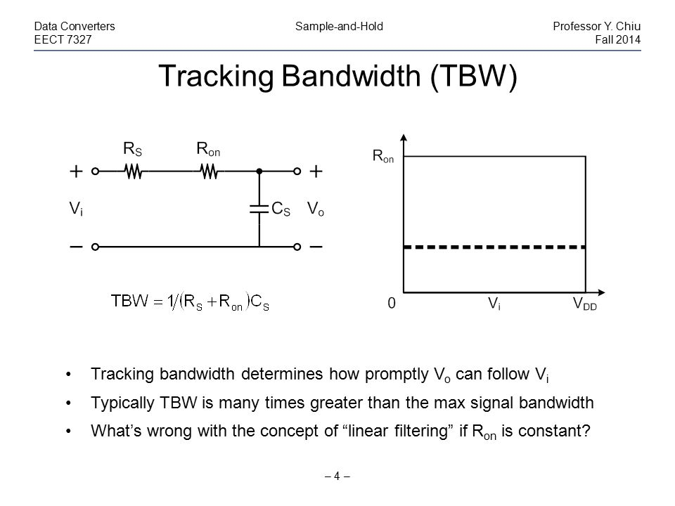 Tracking Bandwidth (TBW) – 4 – Data Converters Sample-and-HoldProfessor Y. Chiu EECT 7327Fall 2014 Tracking bandwidth determines how promptly V o can