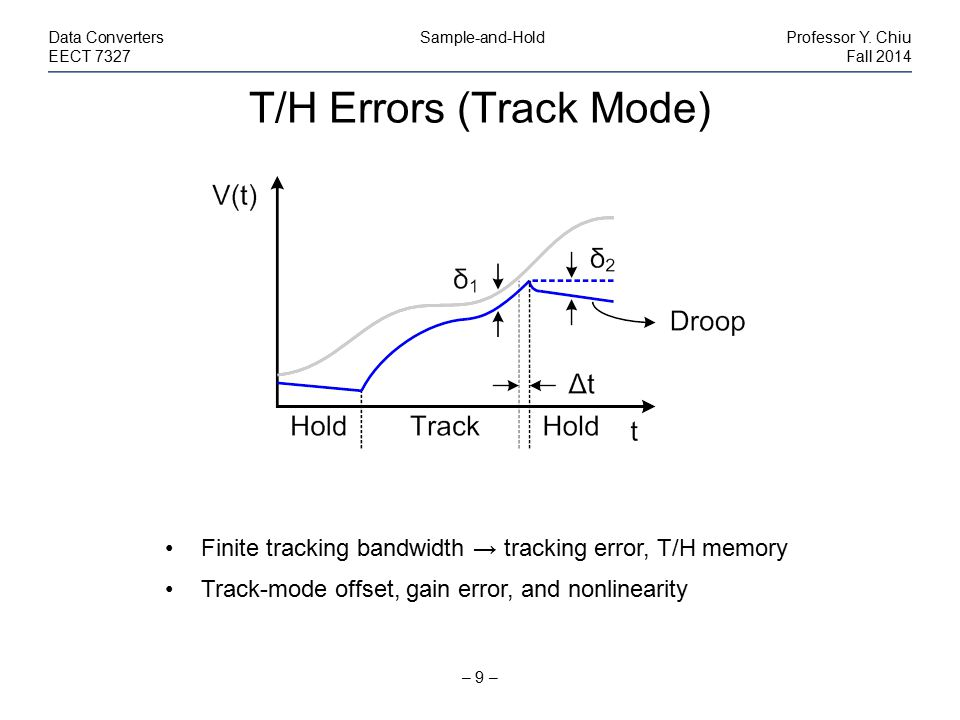 T/H Errors (Track Mode) – 9 – Data Converters Sample-and-HoldProfessor Y. Chiu EECT 7327Fall 2014 Finite tracking bandwidth → tracking error, T/H memo