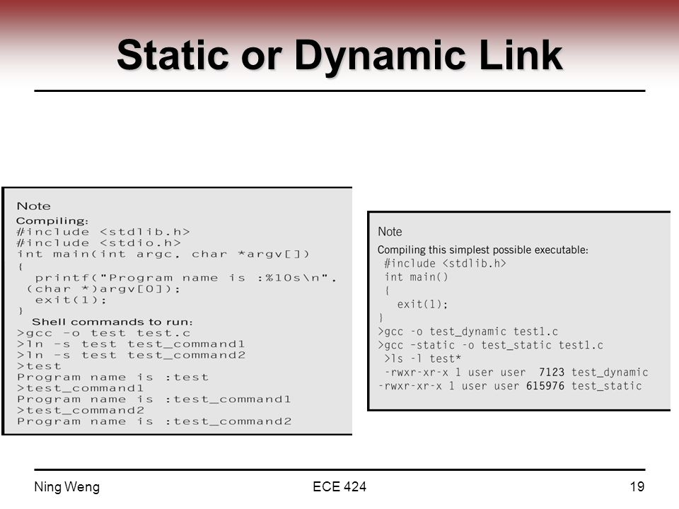 Static or Dynamic Link Ning WengECE 42419