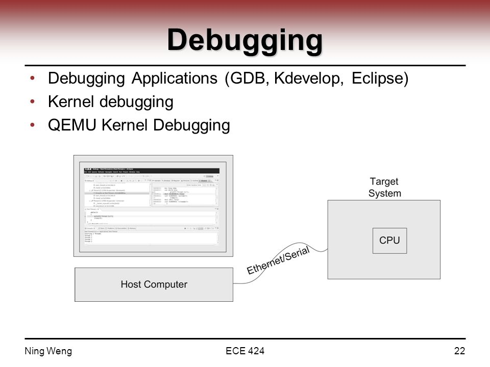 Debugging Debugging Applications (GDB, Kdevelop, Eclipse) Kernel debugging QEMU Kernel Debugging Ning WengECE 42422